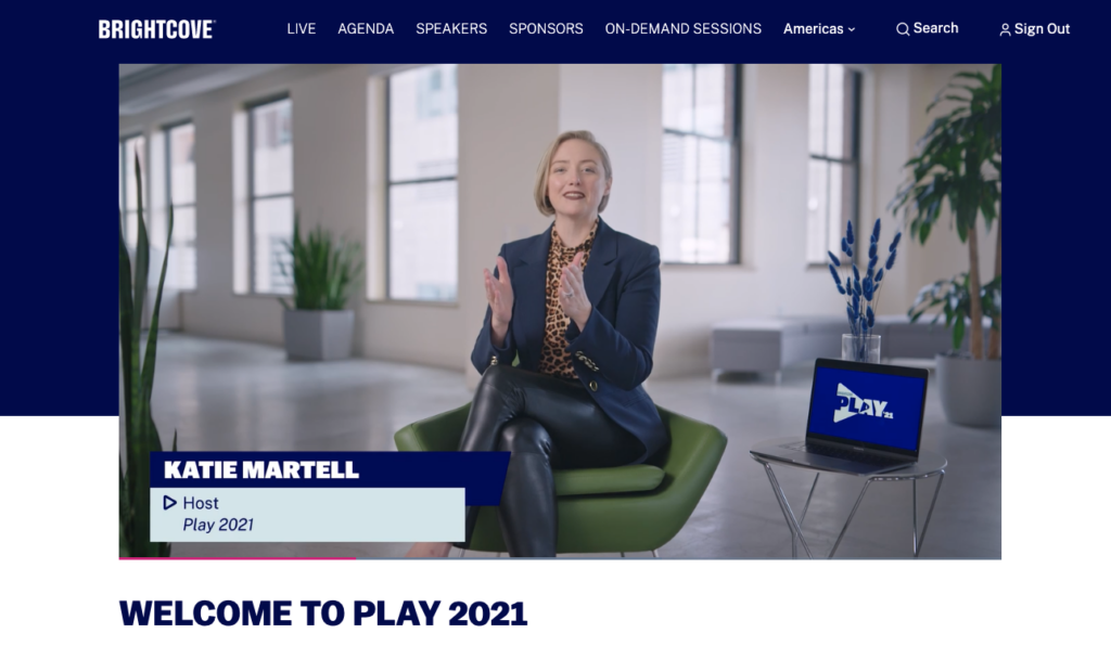 Brightcove PLAY 2021 Virtual Event landing page